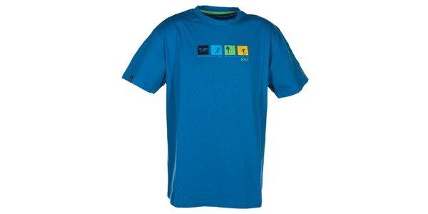 Pánské tyrkysově modré triko s barevným potiskem na hrudi Kilpi