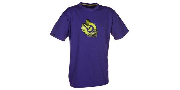 Pánské fialové triko s krátkým rukávem a barevným potiskem Kilpi