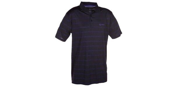 Pánské černé pruhované polo tričko Kilpi