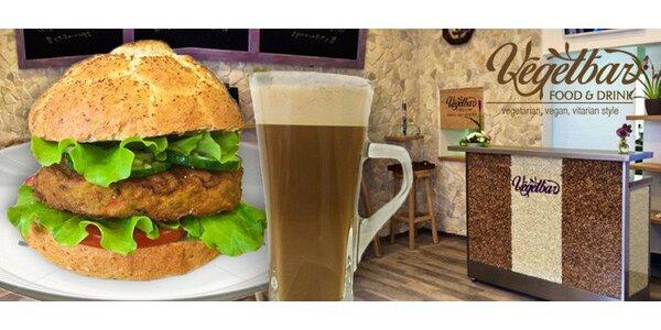 Poctivý Vegetburger se sojovým latté nebo smoothie