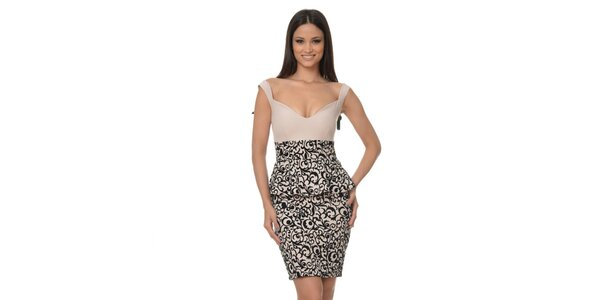 Dámské peplum šaty se vzorovanou sukní Dia Vynne