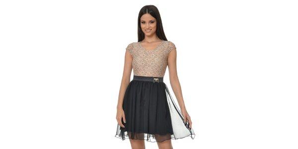 Dámské černo-béžové šaty s květinami Dia Vynne