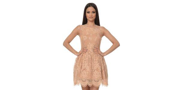 Dámské pudrové šaty s krajkou Dia Vynne