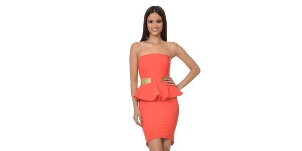 Dámské korálové peplum šaty bez ramínek Dia Vynne