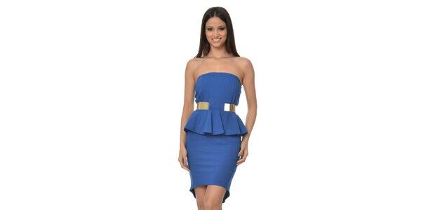 Dámské modré peplum šaty bez ramínek Dia Vynne