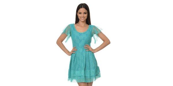 Dámské tyrkysové krajkové šaty Dia Vynne