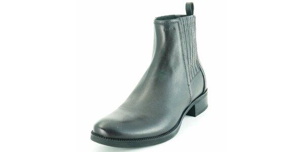 Dámské černé kožené chelsea boty Geox