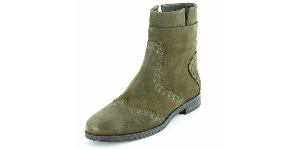 Dámské semišové zelené kotníčkové boty Geox