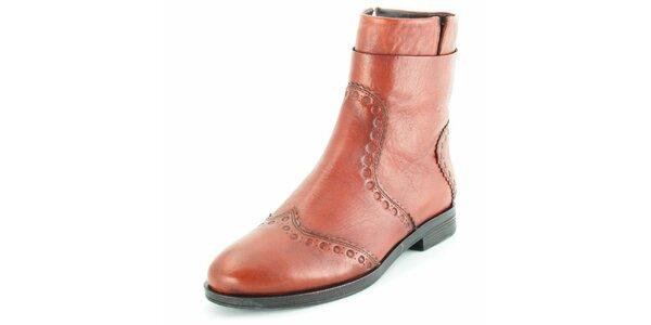 Dámské kožené kotníčkové boty Geox v hnědé barvě