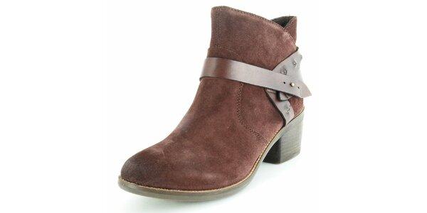 Dámské hnědé semišové kotníčkové boty Geox