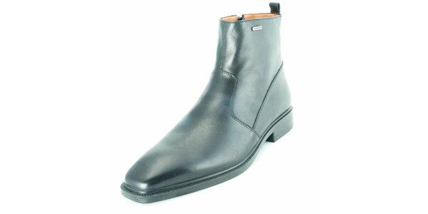 Pánské černé kožené kotníčkové boty na zip Geox