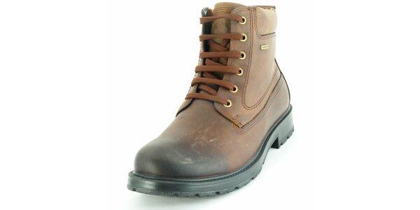 Pánské hnědé kotníčkové boty Geox