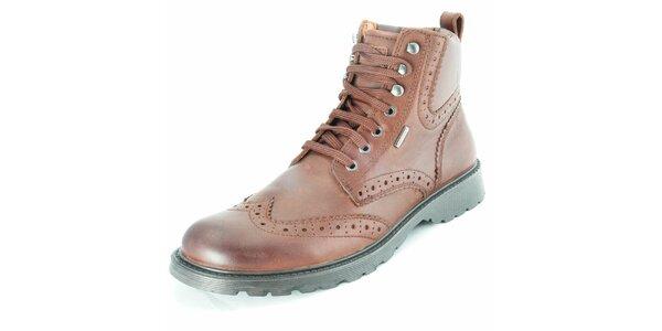 Pánské kožené hnědé kotníčkové boty Geox