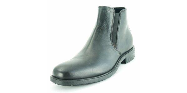 Pánské černé kožené lesklé chelsea boty Geox