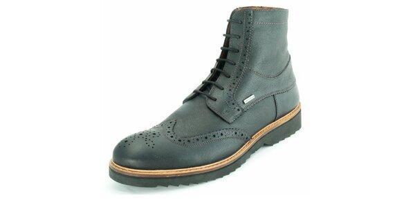 Pánské černé kotníčkové boty z kůže Geox