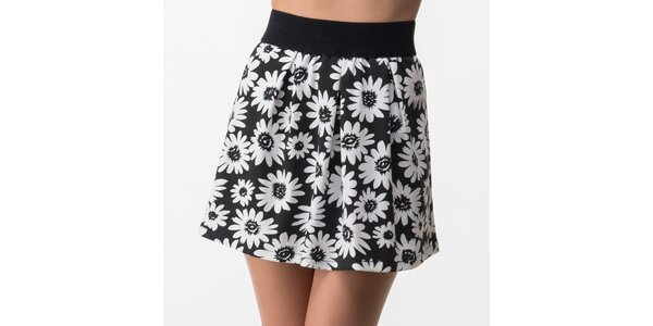 Dámská černá sukně s bílými květy Sixie