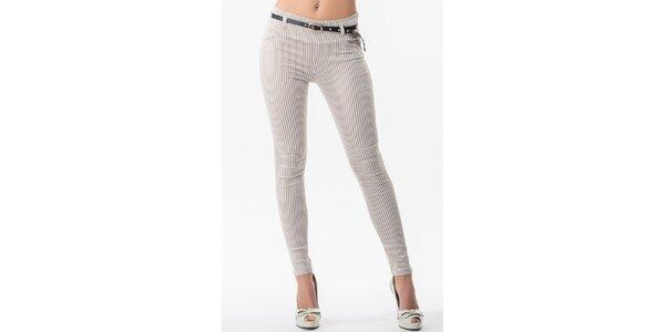 Dámské kalhoty s béžovými proužky a páskem Sixie