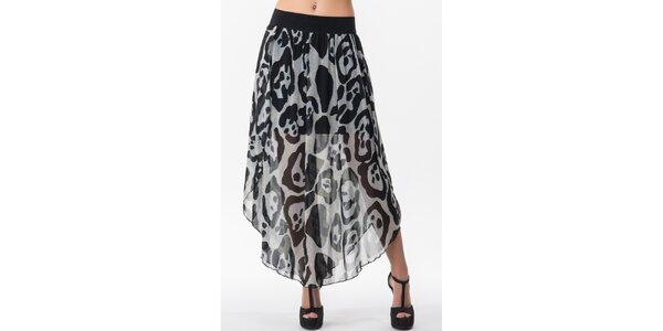 Dámská dvouvrstvá sukně s černo-bílým vzorem Sixie