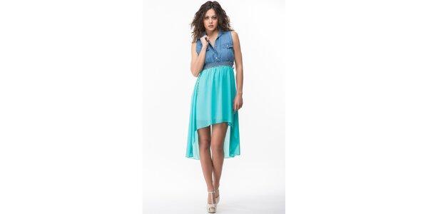 Dámské modro-tyrkysové šaty Sixie