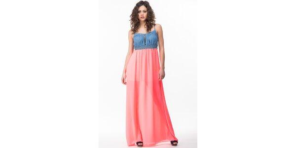 Dámské šaty s neonově růžovou sukní Sixie