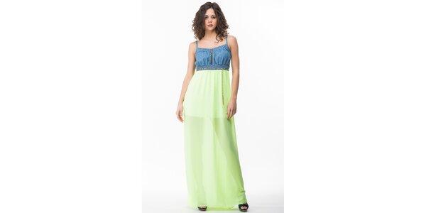 Dámské šaty s neonově žlutozelenou sukní Sixie