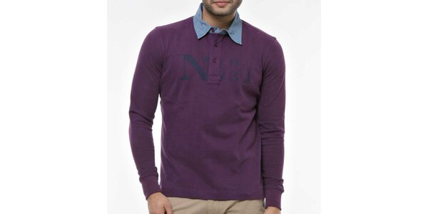 Pánské fialové polo triko s modrým límečkem Nautica