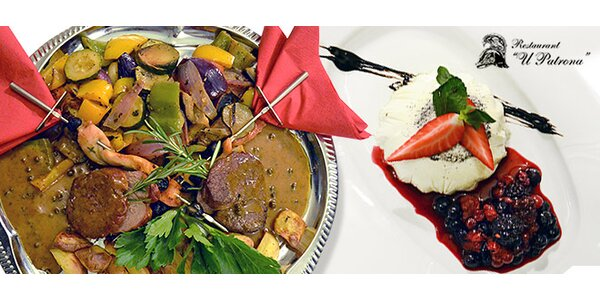 Valentýnské menu pro dva v luxusní restauraci U Patrona
