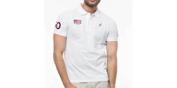 Pánské bílé triko s výšivkami Nautica