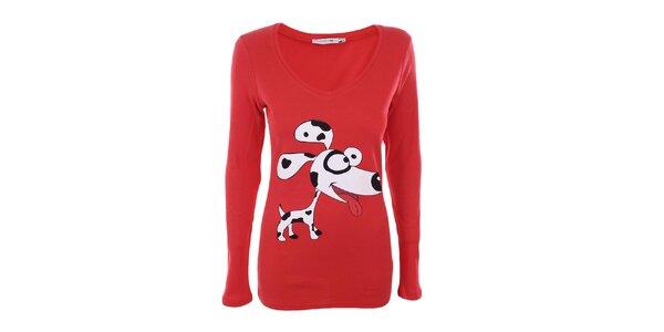 Dámské červené tričko s dalmatinem The Bees