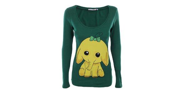 Dámské zelené bavlněné tričko se slůnětem The Bees