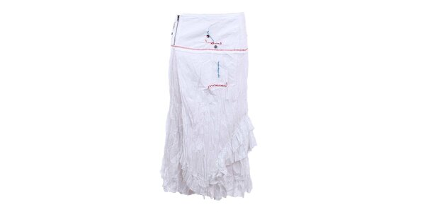 Dámská delší mačkaná sukně v bílé barvě Dislay DY Design