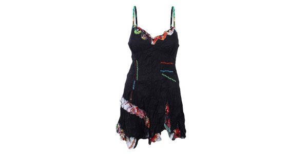 Dámské mačkané černé šaty s barevnými detaily Dislay DY Design