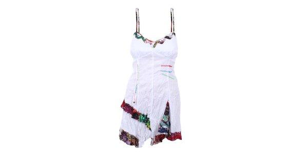 Dámské mačkané bílé šaty s barevnými detaily Dislay DY Design