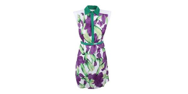 Dámské bílé šaty s fialovo-zeleným potiskem Dislay DY Design