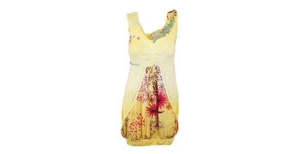 Dámské žluté šaty s aplikacemi Dislay DY Design