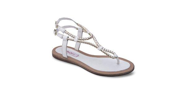 Dámské bílé kožené sandály Pepe Jeans