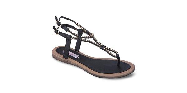 Dámské černé kožené sandály Pepe Jeans