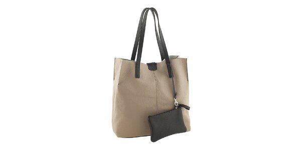 Dámská béžovo-černá nákupní taška s kapsičkou Valentina Italy
