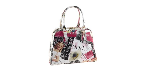 Dámská kufříková kabelka s barevným potiskem Valentina Italy