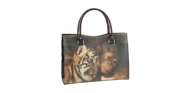 Dámská kabelka s potiskem tygra a opičky Valentina Italy