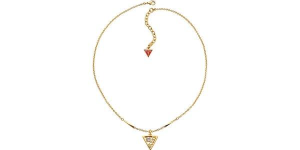 Dámský ocelový zlatý náhrdelník s přívěskem Guess