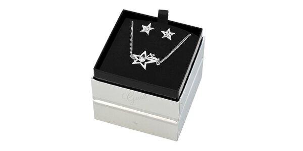 Dámský set hvězdičkových náušnic a náhrdelníku Guess