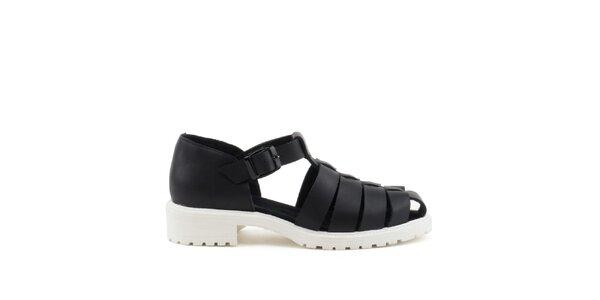 Dámské černé sandály s bílou podrážkou MISU