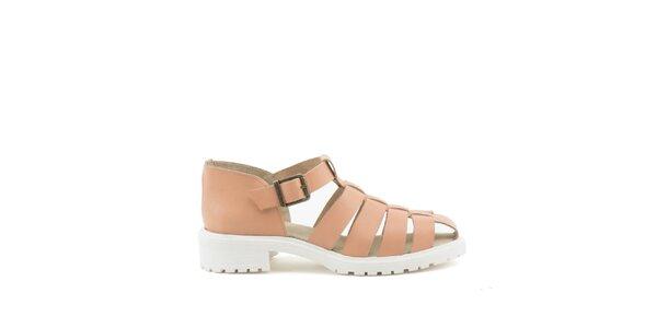 Dámské hnědobéžové sandály s bílou podrážkou MISU