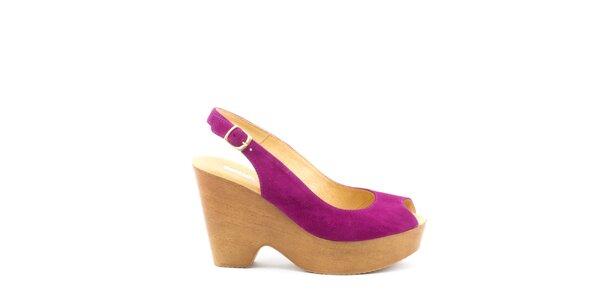 Dámské fuchsiové sandály na širokém podpatku a platformě MISU