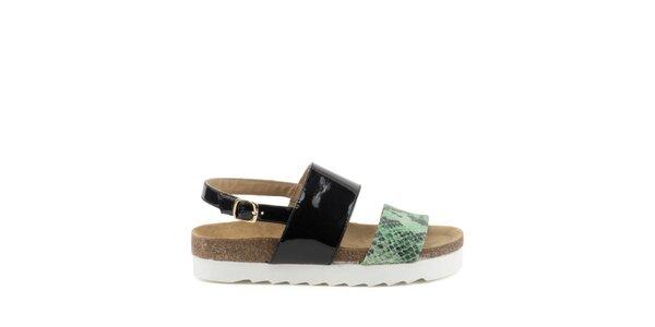 Dámské sandály s černým a zeleným páskem s hadím motivem MISU