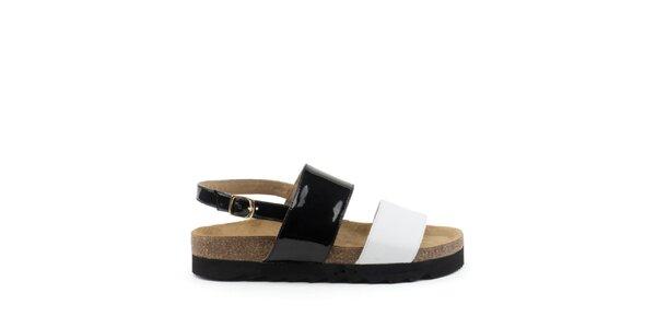 Dámské sandály s černým a bílým páskem MISU