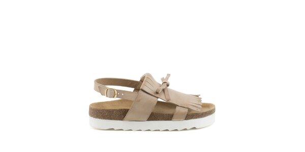 Dámské béžové sandály s třásněmi MISU