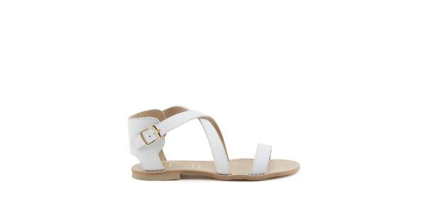 Dámské bílé páskové sandály s přezkou MISU