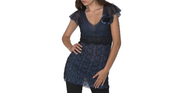 Dámská modro-černá tunika s krátkým rukávem Arefeva